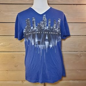 Guess Jeans Men's V-Neck Los Angeles Skyline Tee